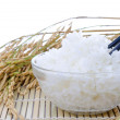 Stock Photo: Bowl of white steamed rice with chopsticks on bamboo mat.with pa