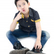 Foto de Stock  : AsiCute boy isolate on white background .