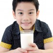 Portrait of Little asiboy drinking glass of milk — Stockfoto #37414725