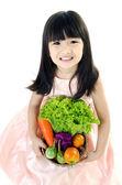Młode azjatyckie słodkie dziewczyny z warzyw — Zdjęcie stockowe