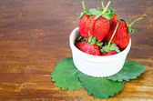 Fresh strawberries were placed — Stock Photo