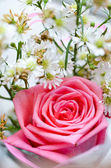 Bouquet di rose rosa e piccolo fiore — Foto Stock