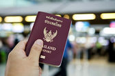 Hand holding thailand passport — Stockfoto