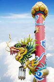 Kinesisk stil dragon staty i templet — Stockfoto