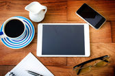 tablet pc and a coffee and Mobile phone — Stock Photo