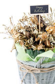 Bouquet of dry flower with happy birth day label — Stock Photo