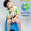 Portrait of young cute boy, Save the world concept — Stock Photo #47728343