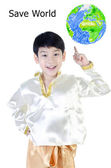 Asian happy boy in thai costume — Stock Photo