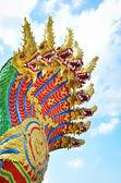 Naga snake guarding Thai temple entrance — Zdjęcie stockowe