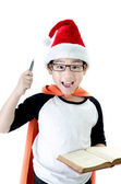 Little asian smile boy with santa hat — Stock Photo