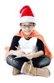 Little asian smile boy with santa hat — Photo