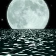 Stock Video: Ocean Night Large Moon Fantasy Scene Seamlessly Looping