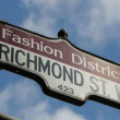 Stock Video: Fashion District Street Sign CU