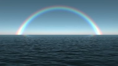 Ocean Dawn Rainbow Scene Looping — Stock Video
