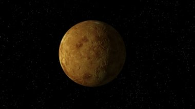 3D animation of planet Venus with no atmosphere, rotating in a seamless loop. NOTE: Venus is the only planet that rotates clockwise (right to left).