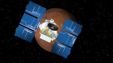 Satellite Approaches Mars — Stock video