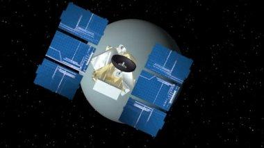 Satelliten nähert sich uranus — Stockvideo