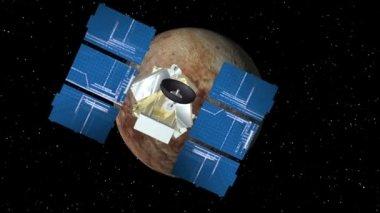 Satelliten nähert sich pluto — Stockvideo