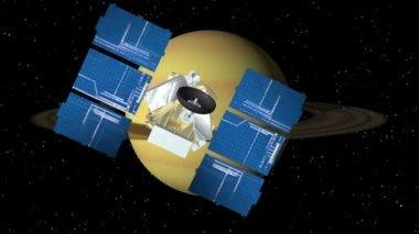 Satelliten nähert saturn sich — Stockvideo