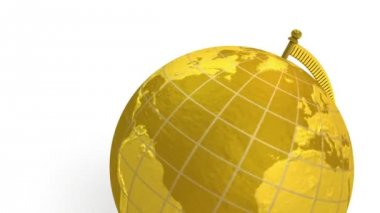 Gold globe spins, stops at North America — Stock Video