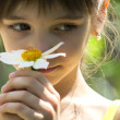 Little girl with a flower — Stok fotoğraf