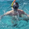 A young man in a mask for diving — Foto de Stock