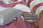 Clutch bag and bracelet of crystals — Stock fotografie