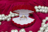 Gold ring with white pearls for engagement or marriage — Stock Photo
