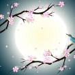 Background with stylized cherry blossom and bird. — Imagen vectorial