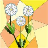 Květinové mozaiky pozadí. camomiles. — Stock vektor