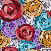 Colored art rose seamless pattern. — Stock Vector