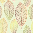 Autumn transparent leaves pattern background — Stock Vector
