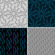 Set of four seamless abstract hand-drawn background. — Stock Photo