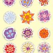 Set of colorful cute isolated flowers — Stock Vector