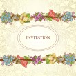 Vector floral invitation card, hand drawn retro flowers and leaves in circle — Imagen vectorial