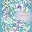 Vector floral background, hand drawn retro flowers and leaves — 图库矢量图片