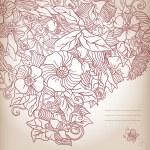 Vector sfondo floreale, mano trafilati retrò fiori e foglie — Vettoriale Stock  #30686843