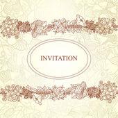 Vektor blommig inbjudningskort, hand dras retro blommor och blad i cirkel — Stockvektor