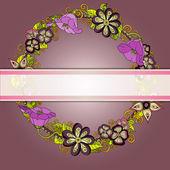 Vector cartão convite floral, flores retrô mão desenhada e folhas em círculo — Vetorial Stock