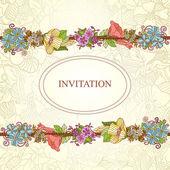 Tarjeta de invitación floral, dibujado a mano retro flores y hojas en círculo del vector — Vector de stock