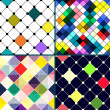 Set of four retro vector seamless pattern. Colorful mosaic banner. Repeating geometric tiles with colored rhombus. Geometric background. — Stock Photo #31736643