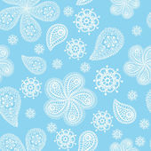 Ornamental winter seamless lace pattern with snowflakes and cucumbers — Stock Photo