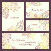 Invitation, thank you card, save the date cards with colored autumn leaves. Doodle brochure beauty template card with your text for background, backdrop, gift, invitation, banner, design element. — Stok fotoğraf