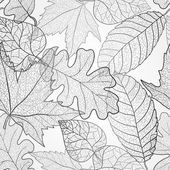 Autumn transparent maple leaves pattern background. Black and white art vector autumn leaves pattern. Fabric texture. — Stock Photo