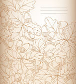 Vector floral background, retro oak leaves and acorns. — Stock Vector