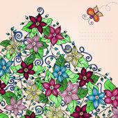 Vektor floral bakgrund, med fjäril. — Stockvektor