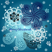 Christmas and New Year. Vector greeting, thank you, invitation card with snowflakes and place for your text. — Stock Vector