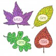 Stok Vektör: Vector nature frames with colorfull autumn leaves.Vintage Design Elements. Labels in mosaic style. Vector Illustration.