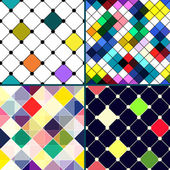 Set of four retro vector seamless pattern with rhombus. — Stock Vector