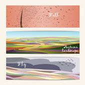 Autumn set of three nature banners, road, tree and open sky. Colored autumn landscapes. — Stock Vector